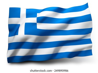 Waving flag of Greece isolated on white background