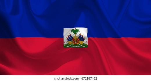 Waving flag of the Haiti. Haitian Flag in the Wind. National mark. Waving Haiti Flag. Haiti Flag Flowing. 3d Illustration.