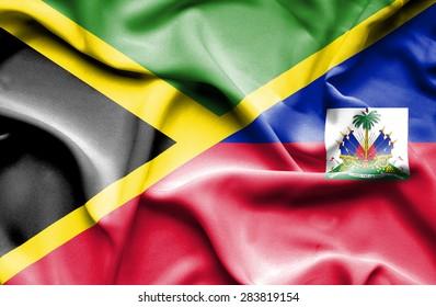 Waving flag of Haiti and Jamaica
