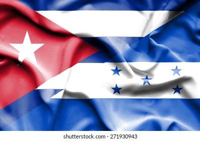 Waving flag of Honduras and Cuba