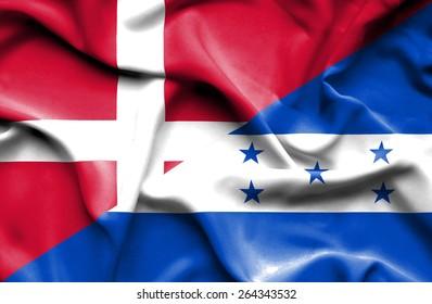 Waving flag of Honduras and Denmark