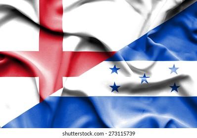Waving flag of Honduras and England