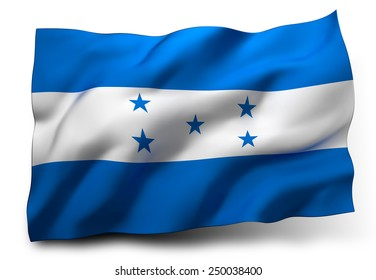 Waving flag of Honduras isolated on white background