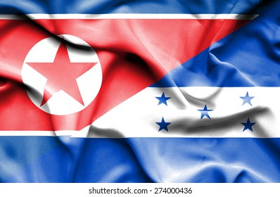 Waving flag of Honduras and North Korea