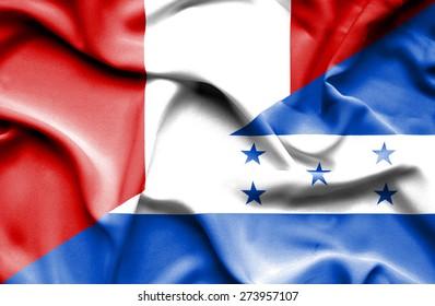 Waving flag of Honduras and Peru