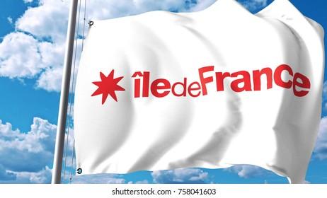 Waving flag of Ile-de-France, a region of France. 3D rendering