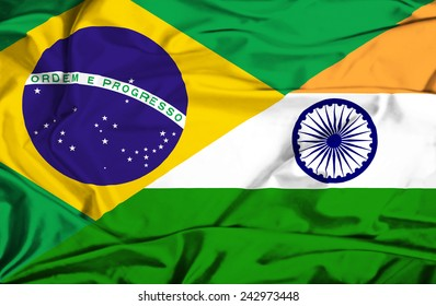 Waving flag of India and Brazil