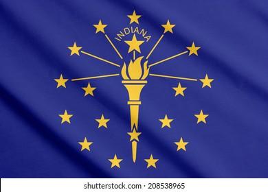 Waving flag of Indiana