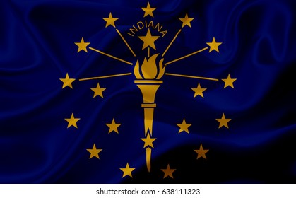 Waving flag of Indiana, USA, with fabric texture