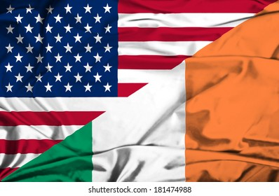 Waving flag of Ireland and USA