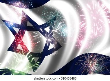 Waving flag of Israel  and festive firework
