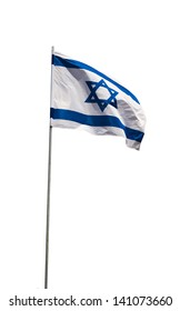 Waving Flag of Israel isolated on a white background