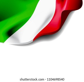 Waving flag of Italy close-up with shadow on white background. illustration with copy space