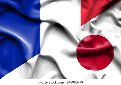 Waving flag of Japan and France
