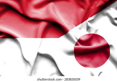 Waving flag of Japan and Indonesia