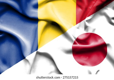 Waving flag of Japan and Romania