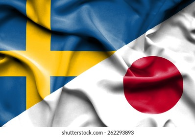 Waving flag of Japan and Sweden