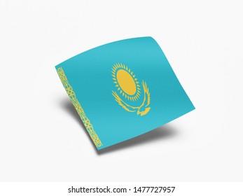 Waving Flag of Kazakhstan, Flag of Kazakhstan in White Background.