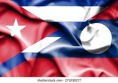 Waving flag of Laos and Cuba