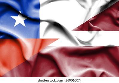 Waving flag of Latvia and Chile