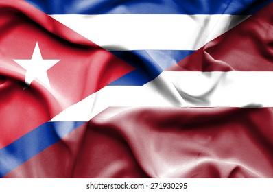 Waving flag of Latvia and Cuba