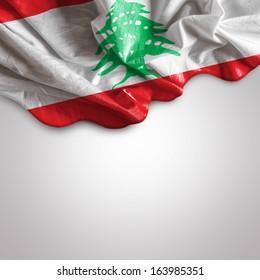 Waving Flag of Lebanon (officially the Lebanese Republic), East Mediterranean