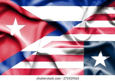 Waving flag of Liberia and Cuba