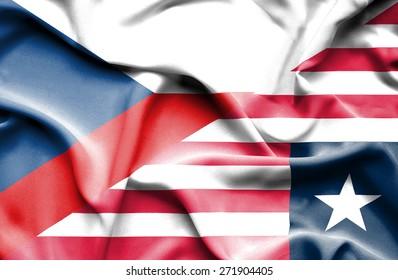Waving flag of Liberia and Czech Republic