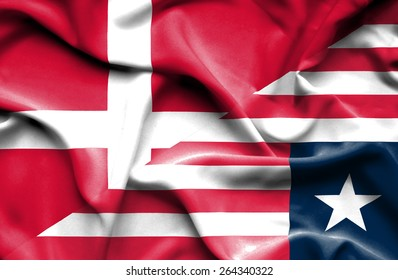 Waving flag of Liberia and Denmark
