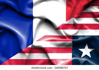 Waving flag of Liberia and France