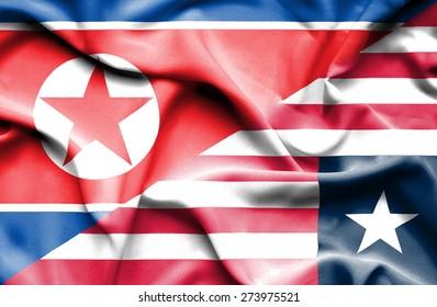 Waving flag of Liberia and North Korea