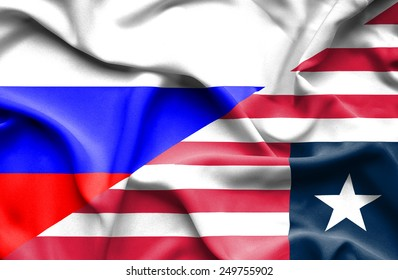 Waving flag of Liberia and Russia