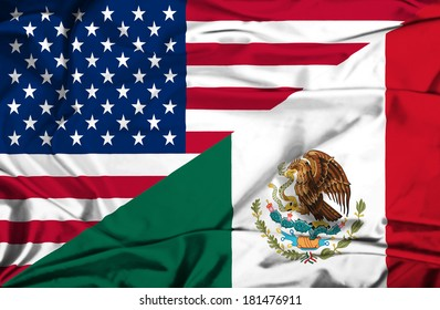 Waving flag of Mexico and USA