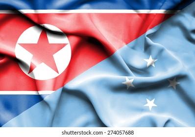 Waving flag of Micronesia and North Korea