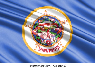 waving flag of Minnesota is a state of USA