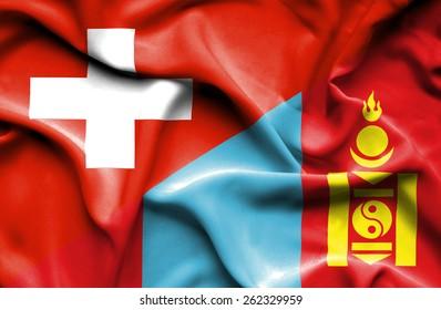 Waving flag of Mongolia and Switzerland