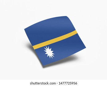 Waving Flag of Nauru, Flag of Nauru in White Background.