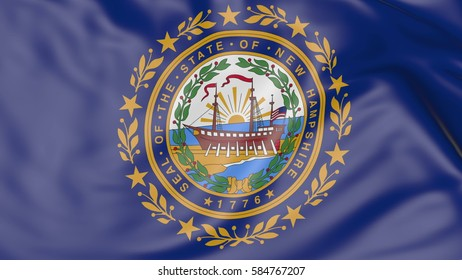 Waving flag of New Hampshire state. 3D rendering