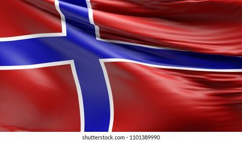 Waving flag of Norway using as background, 3d rendering