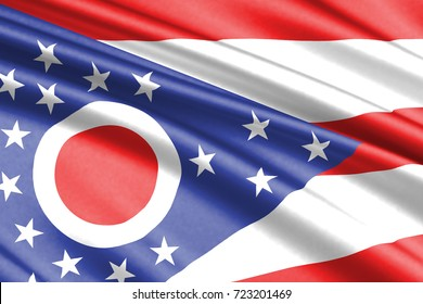 waving flag of Ohio is a state of USA