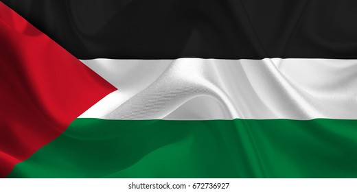 Waving flag of the Palestine. Flag in the Wind. National mark. Waving Palestine Flag. Palestine Flag Flowing. 3d Illustration.