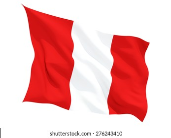 Waving flag of peru isolated on white
