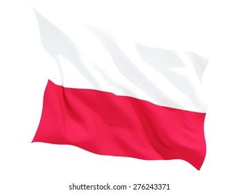 Waving flag of poland isolated on white