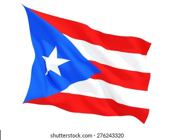 Waving flag of puerto rico isolated on white