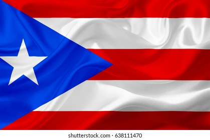 Waving flag of Puerto Rico, USA, with fabric texture