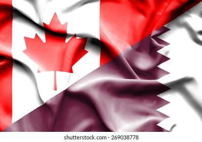 Waving flag of Qatar and Canada