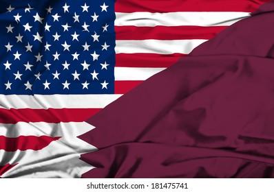 Waving flag of Qatar and USA