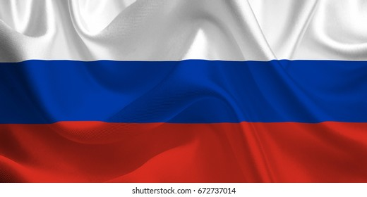 Waving flag of the Russia. Russian Flag in the Wind. Russian National mark. Waving Russia Flag. Russia Flag Flowing. 3d Illustration.