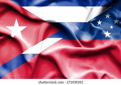 Waving flag of Samoa and Cuba