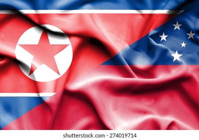 Waving flag of Samoa and North Korea